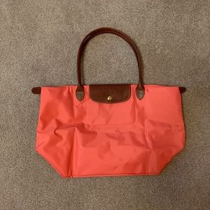 NEW Longchamp Le Pliage Nylon Large Tote in Coral